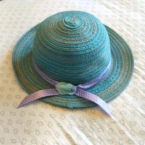Girls Toddler Size Blue Straw Hat, Purple Ribbon